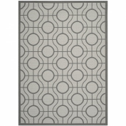 Safavieh CY6115-78 Courtyard Collection Indoor/Outdoor Area Rug, 1.8m by 2.7m, Light Grey/Anthracite