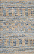 Safavieh Cape Cod Collection CAP353A Hand Woven Flatweave Natural and Blue Jute Area Rug