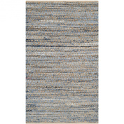 Safavieh Cape Cod Collection CAP350A Handmade Natural and Blue Jute Area Rug, 0.6m by 0.9m