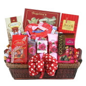 English Rose Spa and Chocolates Valentines Day Gift Basket for Women