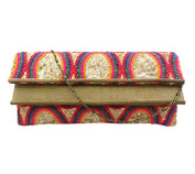Bhamini Women's Embroidered Clutch With Double Flap