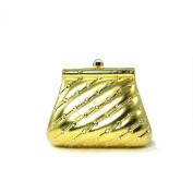 Elegant Hardshell Trapezoid Shaped Gold Brass Small Evening Bag with Rhinestones