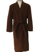 Men's Coffee Colour Microfiber Long Spa Gown Bath Robe w/ Pockets Belt-large Size