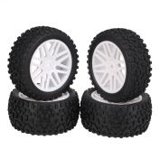 Generic White Front Rear Buggy Wheel Rim Rubber Tyre Tyres 66015-66035 for RC 1. Road Pack Of 4