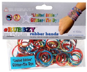 Undee Bandz Rubbzy 100 GLITTER RAINBOW Tie-Dye Rubber Bands with Clips [D]
