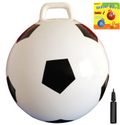 Space Hopper Ball with Pump in Soccer Style, 18in/45cm Diameter for Ages 3-6, Hop Ball, Kangaroo Bouncer, Hoppity Hop, Sit n Bounce, Jumping Ball