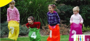 Out Door Jumping Bags Includes 4 Numbered Colourful Bag, Start Finish Line and Ground Pegs