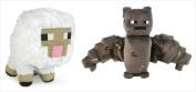 Official Minecraft Overworld 18cm Plush Baby Sheep & Bat Figure SET of 2
