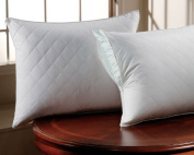 PopularHome Collection - Zippered Quilted Pillow Covers - Poly Cotton - Queen Size - Set of 2