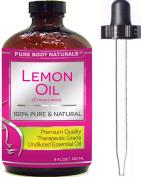 Pure Body Naturals Therapeutic Grade Undiluted Essential Lemon Oil, 120ml