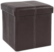 FHE Group Folding Storage Ottoman, 12 by 30cm by 30cm , Brown