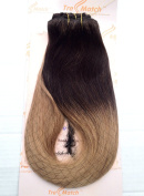 """Tressmatch 16""""(46cm ) Clip in Remy Human Hair Extensions Ombre/Dip Dye Chocolate Brown to Bleach/Caramel Honey Blonde 9 Pieces(pcs) Full Head Volume Set Thick to Ends [140ml/130grams]"""