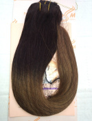 """Tressmatch 16""""-46cm Remy Human Hair Clip in Extensions Thick to Ends Ombre Brunette/Dark Brown to Medium/Chestnut Brown 9 Pieces(pcs) Full Head Volume Set [Set Weight:140ml/130grams]"""