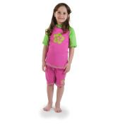 Girls size 8 Pink/Green Sun UV Protective Rashguard Swimsuit swim shirt & shorts SPF+50 Swim Suit for Kids Age 8 Years Old