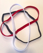 NEW FABULICIOUS BLACK RED WHITE NON-SLIP SINGLE HEADBANDS - OUCHLESS HEAD HAIR UNDER SPORTS