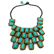 Mosaic Droplets Turquoise Statement Brass Necklace