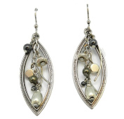 Silver Forest Silvertone Shapes with Cascading Beads Dangle Earrings