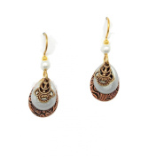 Silver Forest Petite Copper Teardrops Layered with Pale Green Open Teardrops and Goldtone Filagree Dangle Earrings