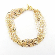 Multi-Strand Flat Round Gold Plated Sterling Silver Chain Toggle Bracelet Italy