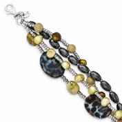 Sterling Silver FW Cultured Pearl,Mother of Pearl,Jasper,Glass,Hematite,with 2.5cm ext 4-strand Bracelet