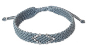 Silver accent wristband bracelet, 'Hill Tribe Grey'