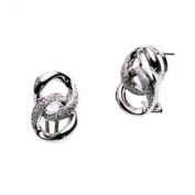 OWC Sterling Silver Dbl Curb Link Clip Earring W.dia