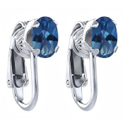 1.90 Ct Oval Sapphire Blue Mystic Topaz 925 Sterling Silver Clip-On Earrings