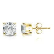 18k Gold Asscher Diamond 4-Prong Basket Stud Earrings (1/2-2ct,G-H,VS2-SI1)Push-Back