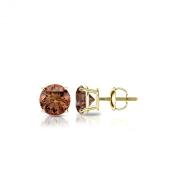 14k Gold Round Brown Diamond 4-Prong Basket Stud Earrings (1/4 - 2 ct, Brown, SI1-SI2) Screw-Back