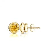 18k Gold Round Yellow Diamond Stud Bezel Earrings (1/4 - 2 ct, Yellow, SI1-SI2) Push-Back