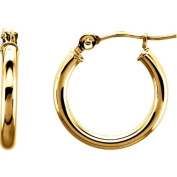 Small 14kt Gold Yellow Tube Hoop Earrings with Click-down Clasp - 13mm