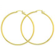 10K Gold Polished Round Hoop Earrings Jewellery 50 x 2mm