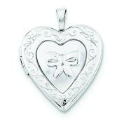 Sterling Silver 20mm Mother Of Pearl Bow Heart Locket