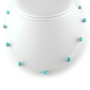 Turquoise Beads Station Sterling Silver Italian Chain Necklace