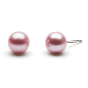 HinsonGayle 7.5-8.0mm Ultra-Lustre Lavender Button Cultured Freshwater Pearl Stud Earrings