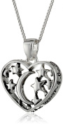 """Sterling Silver """"I Love You To The Moon and Back"""" Open Heart with Stars Pendant Necklace, 46cm"""