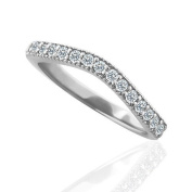 0.23CT Diamond 14K White Gold Diamond Curved Wedding Band Wrap 2.5mm Wide