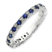 2.5mm Sterling Silver .13ctw Diamond .66 Created Sapphire Prong Set Designer Eternity Ring Band
