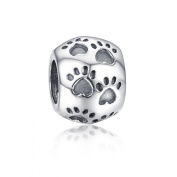Soufeel Cute Footprints Ball Sterling Silver Charms Fit European Bracelets
