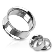 Double Flared Stainless Steel Ear Plug Internally Threaded, Choose yoru Size Black & Silver