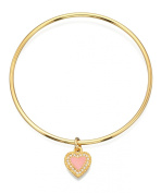 Fiorelli Costume Memory Gold Bangle with Pink Enamel and Opal Milgrain Heart Charm