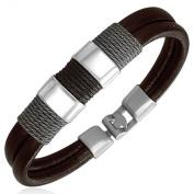 Urban Male 'Detroit' Dark Brown Leather Surf Bracelet for Men