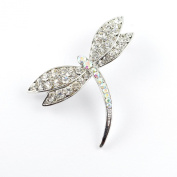 Contemporary Style Rhodium Plated Austrian Crystal Diamante Dragonfly Brooch/ Pin