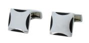 Square design cufflinks with black enamel edging