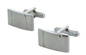 Silver Rectangle Design Cufflinks