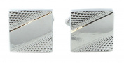 Square Silver Diagonal Stripe Cufflinks
