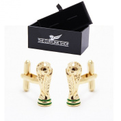 Stainless Steel Men's Novelty Design Gold World Cup Football Cufflinks with Luxury Gift Box