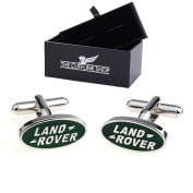 Cool Men's Novelty Design Green Land Rover Car Logo Badge Cufflinks with Luxury Gift Box