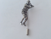 S8 Tennis Player fine english pewter Motif on a tie stick pin hat scarf collar coat