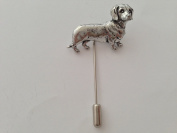 D12 Dachshund fine english pewter Motif on a tie stick pin hat scarf collar coat